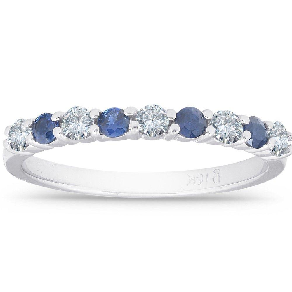 Pompeii3 1 2ct Blue Sapphire Diamond Wedding Ring 10k White Gold Size 7 In 2020 Diamond Rings For Sale Diamond Wedding Rings Wedding Rings