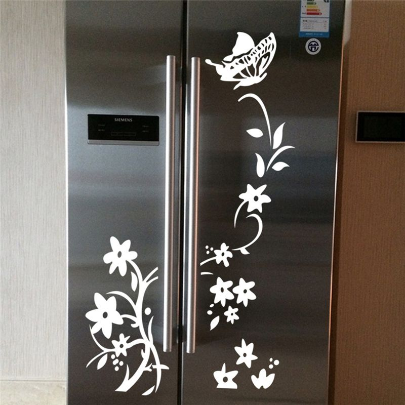 Brand new butterfly and flowers fridge sticker creative 2 for Best brand of paint for kitchen cabinets with wall art vinyl stickers