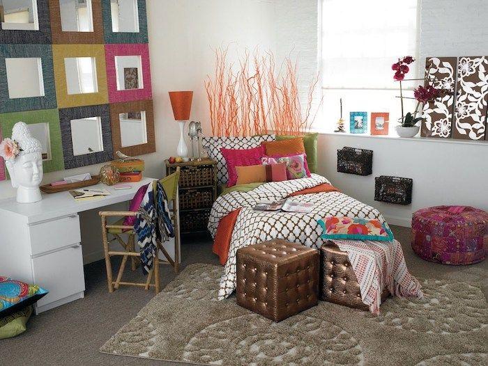Jugendzimmer Set Für Kleines Zimmer Einrichten Spiegel Design Kreative Idee  Für Die Wand über Dem Schreibtisch