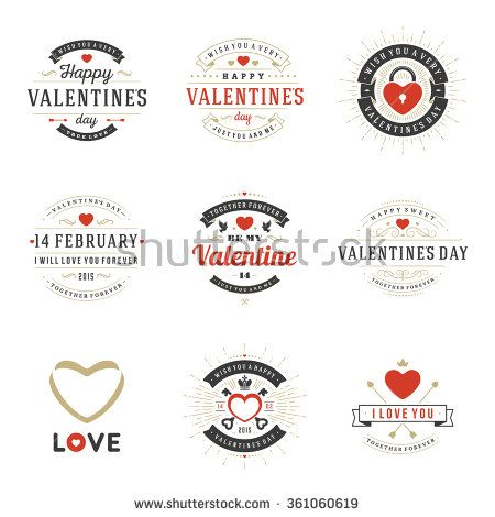 ValentineS Day Labels Badges Heart Icons Symbols Greetings