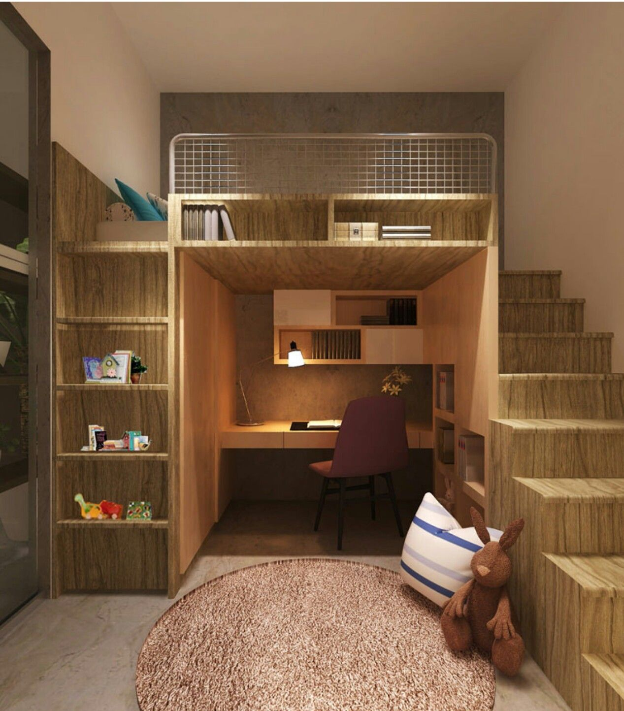 Loft bed with desk and stairs  Such a killer design extra seating on stairs  put loveseat under