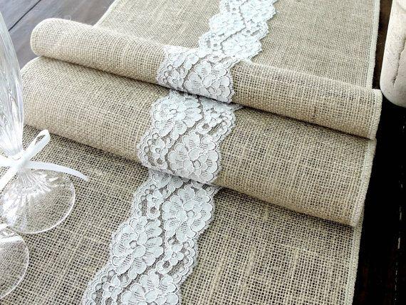 burlap table runner wedding tablecloth burlap and grey lace rustic table runner wedding table runner handmade in the usa
