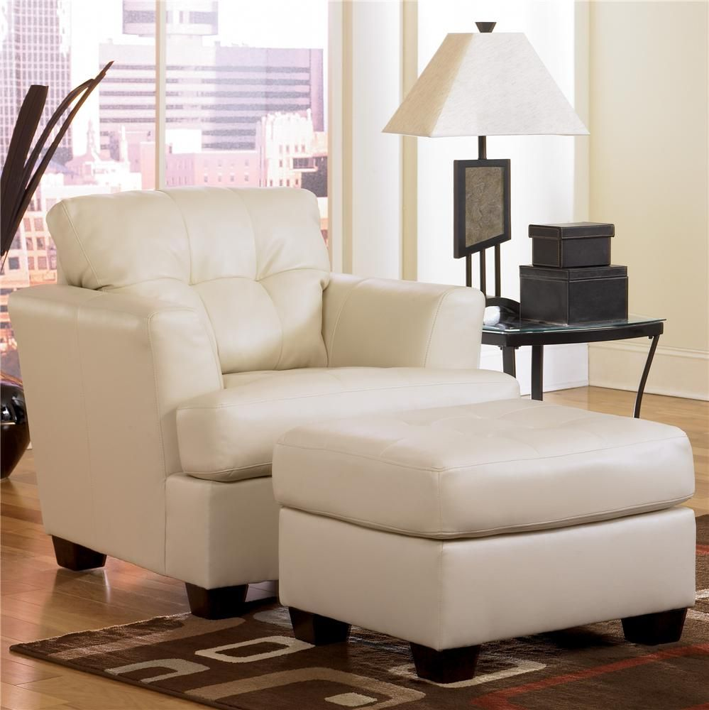 Ivory Living Room Furniture Durablend Ivory Chair And Ottoman By Signature Design By Ashley