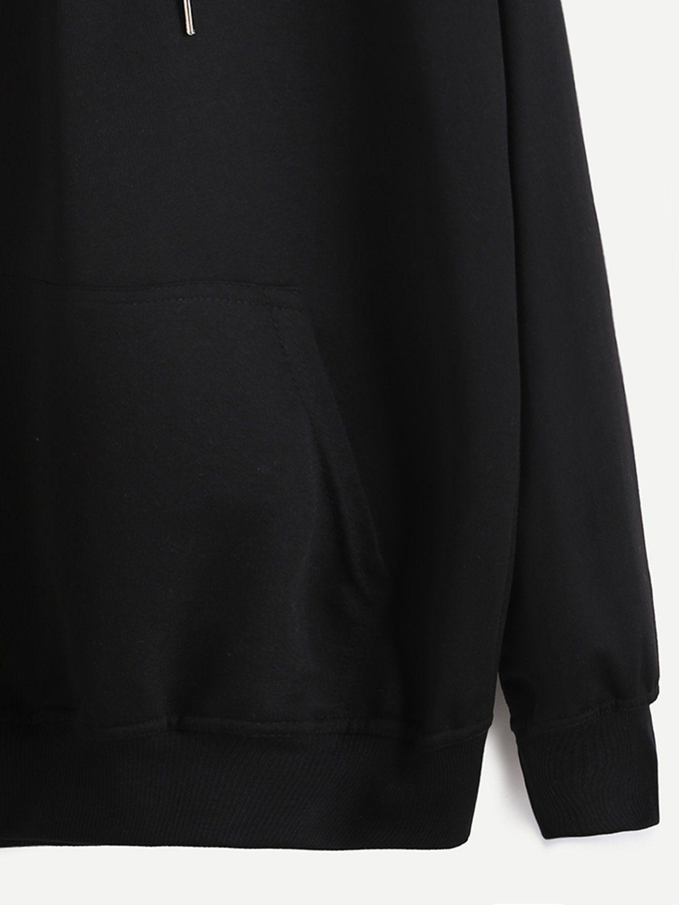 Black Hooded Drawstring Sweatshirt 3