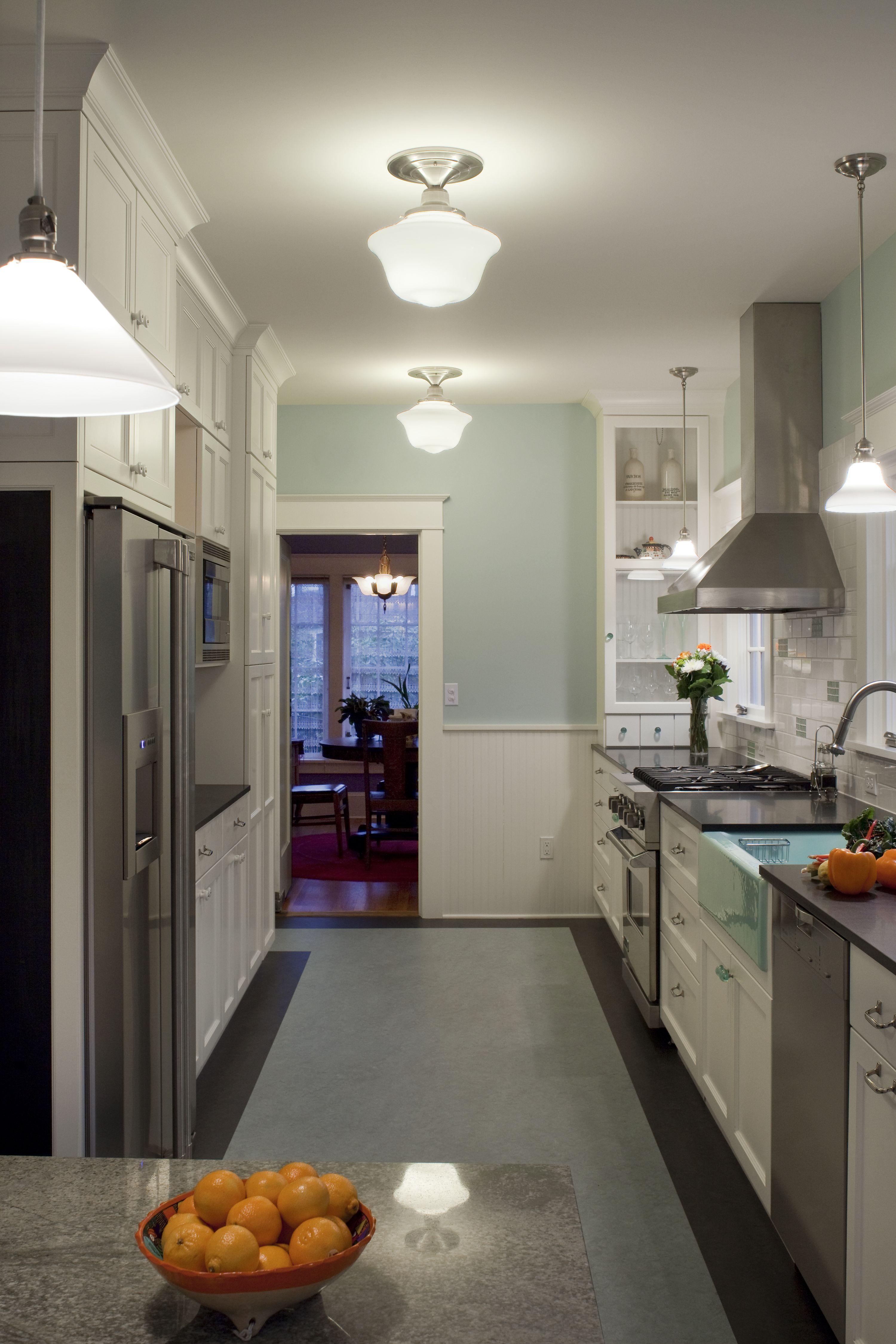Kitchen remodel - School house lights, glass door cabinet ...