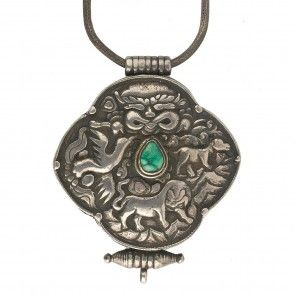 Vintage Tibetan repoussé  sterling silver and turquoise Gau prayerbox pendant with silver braided chain.nlet815cs(e)