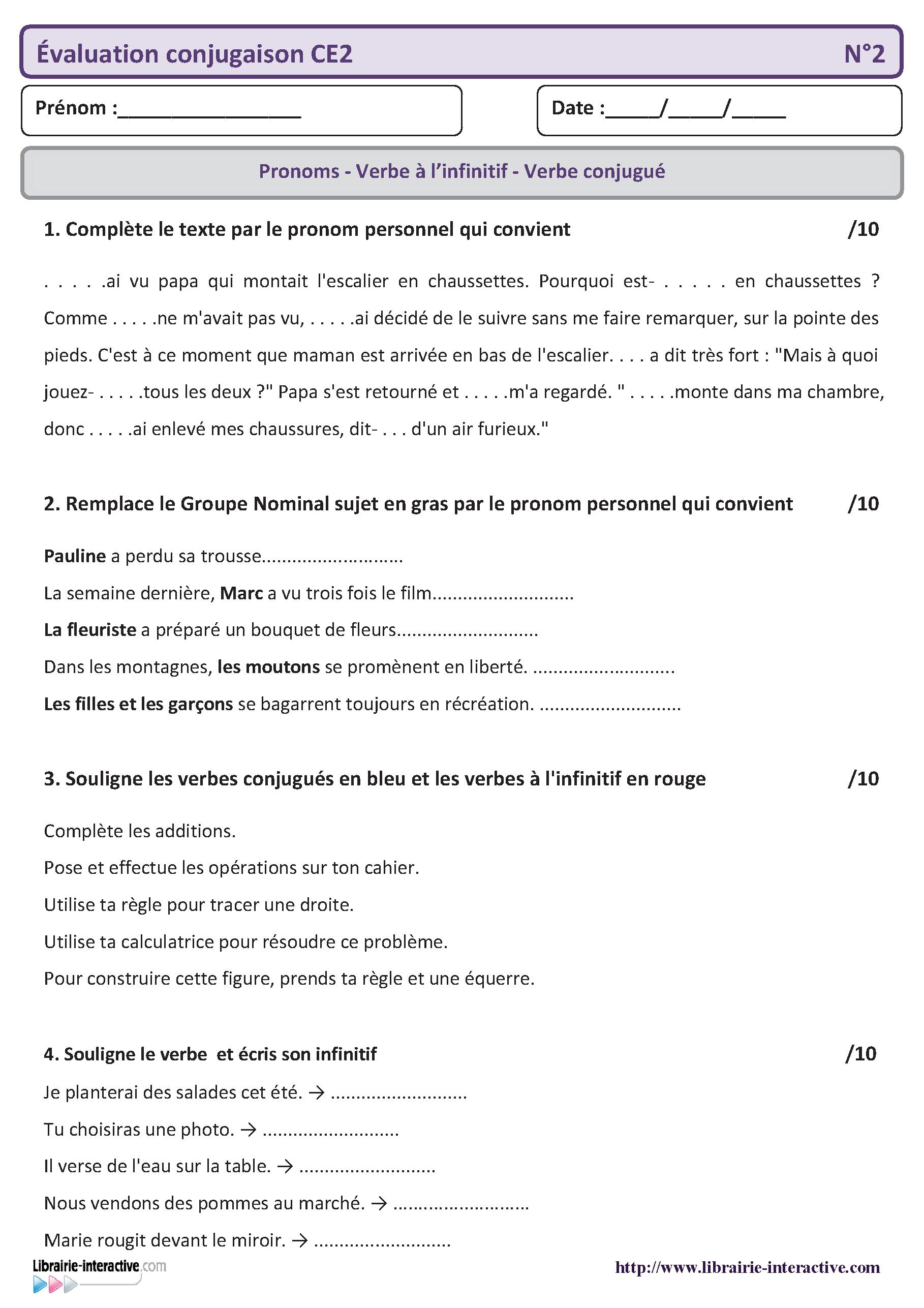 5 évaluations qui pourront servir de bilan en conjugaison pour le ...