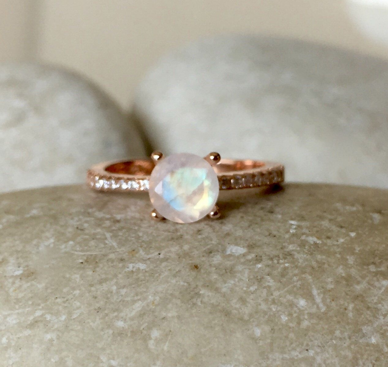 Rose gold moonstone engagement ring prong promise ring for her