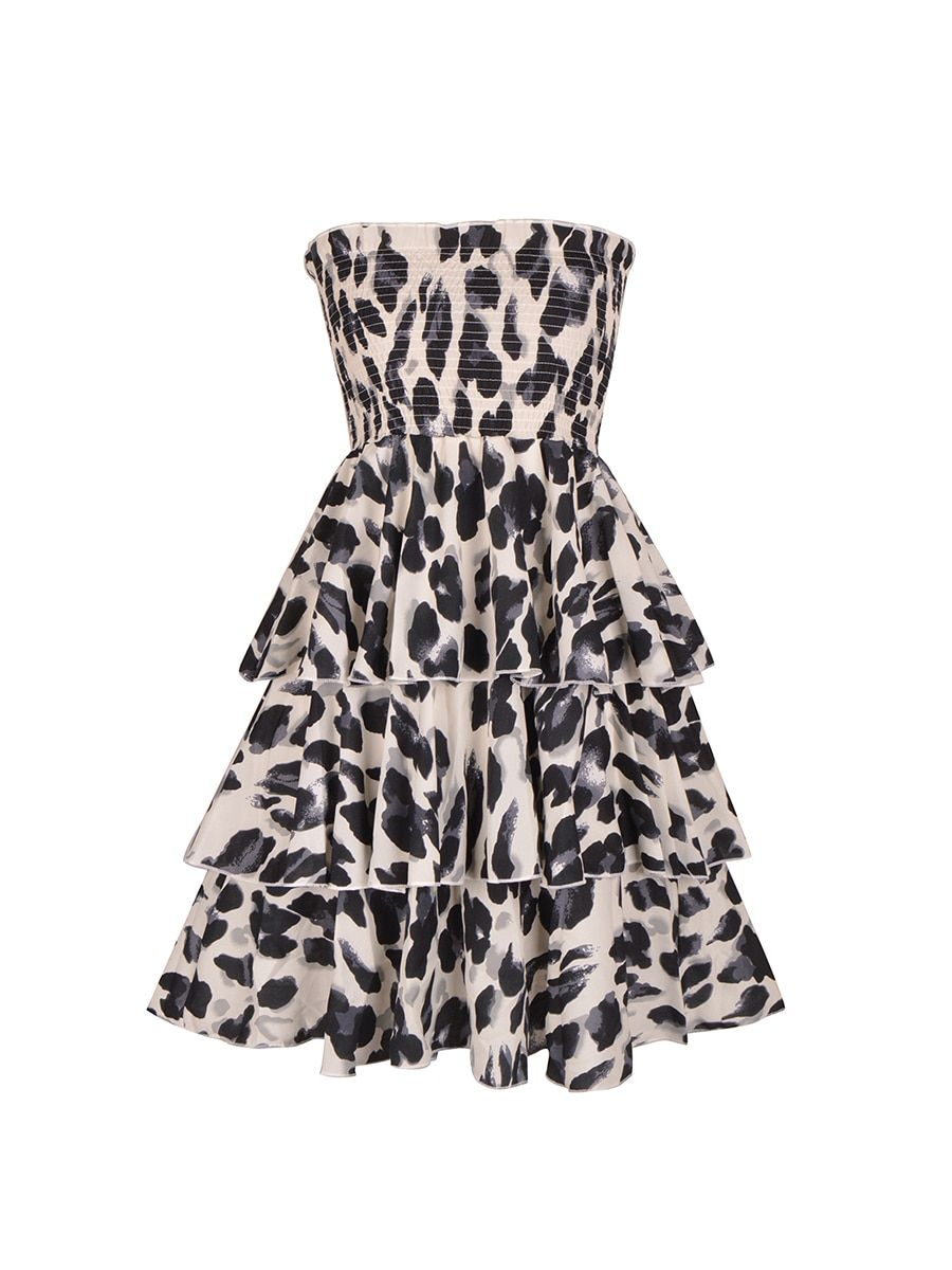 21d8b8821a Women s Dress Cascading Ruffle Strapless Tiered Tube Dress   Style   Sheath  Dresses