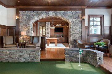gym golf simulator traditional family room mini golf on smart man cave basement ideas id=81769