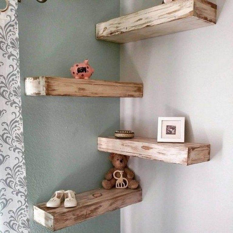 50 Lovely Wooden Decorative Ideas For Living Room Wood Corner Shelves Corner Shelves Living Room Floating Shelves