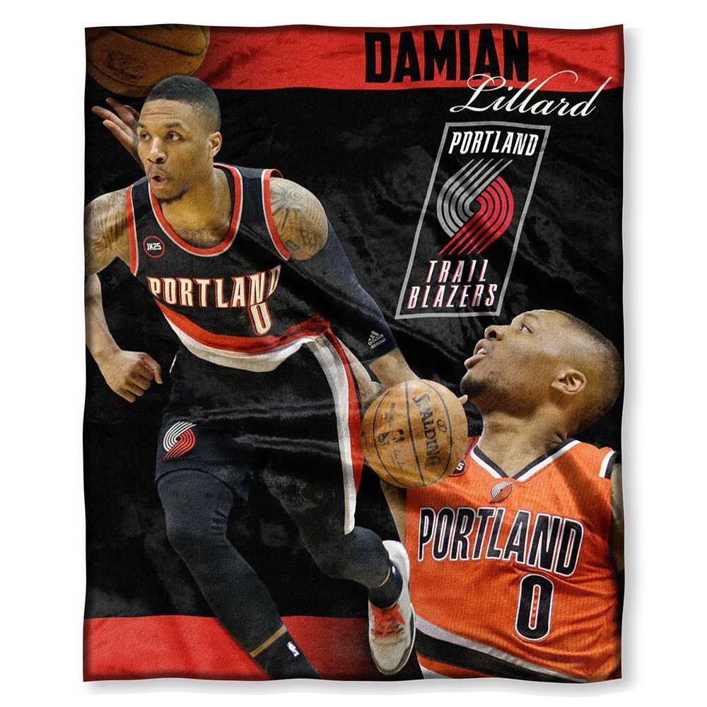 Portland Trail Blazers NBA Damian Lillard Silk Touch Throw (50in x 60in)
