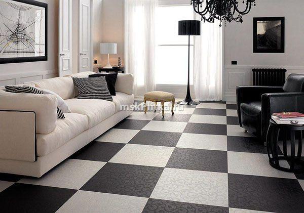 Ceramic Granite Beautiful Wall Design And Modern Flooring Ideas White Tile Floor Black And White Living Room Living Room Tiles