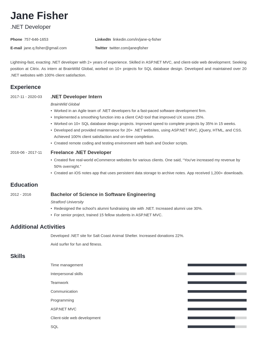 Net Developer Resume Example Template Minimo Resume Examples Job Resume Examples Resume