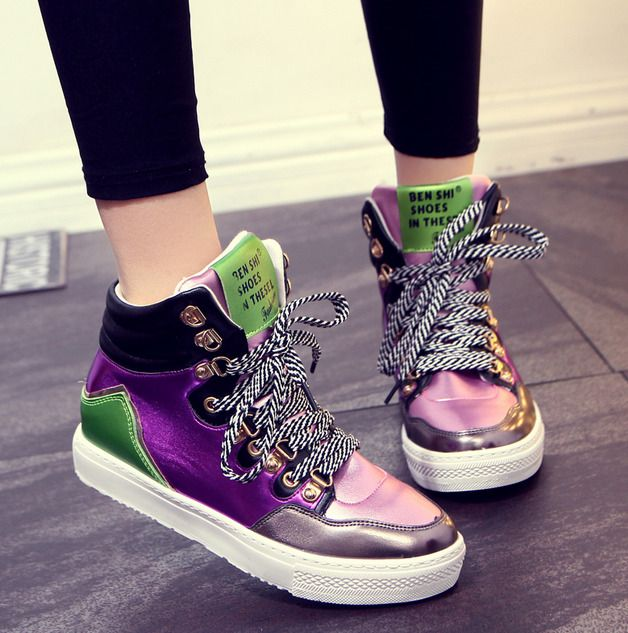 e9b8d7edbd7a Womens Assorted Color Lace Up Running Sports High Top Sneakers Board Shoes  Yh
