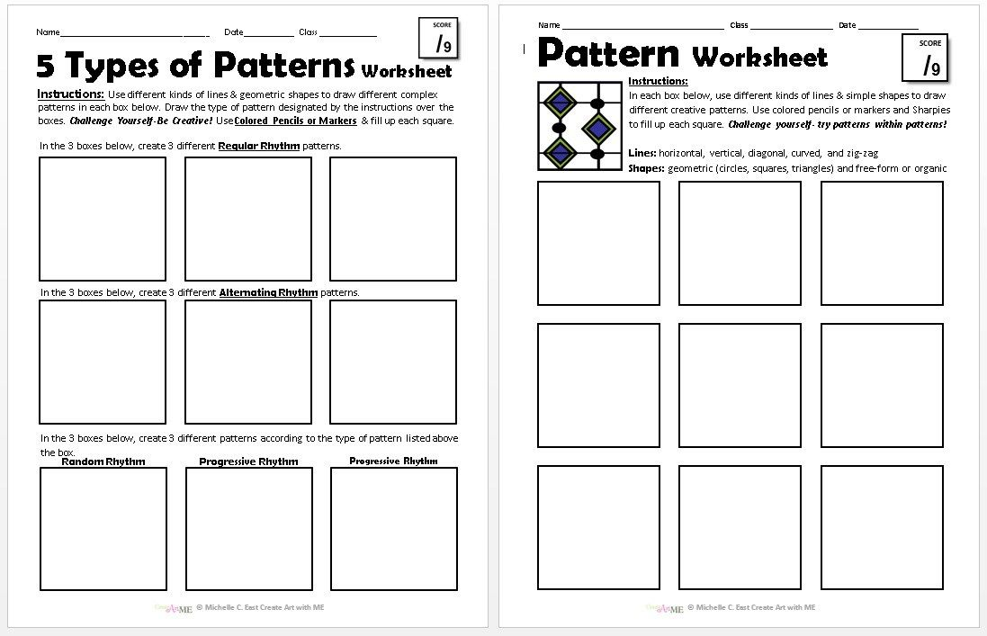 Pattern Worksheets Explore 5 Types Of Patterns Create Art With Me Pattern Worksheet Art Worksheets Pattern Worksheets 5th grade patterns worksheet