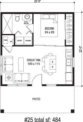 Sidekick Homes One Tree 484 Sq Ft Incredibly Efficient Layout Tiny House Floor Plans House Floor Plans Guest House Plans