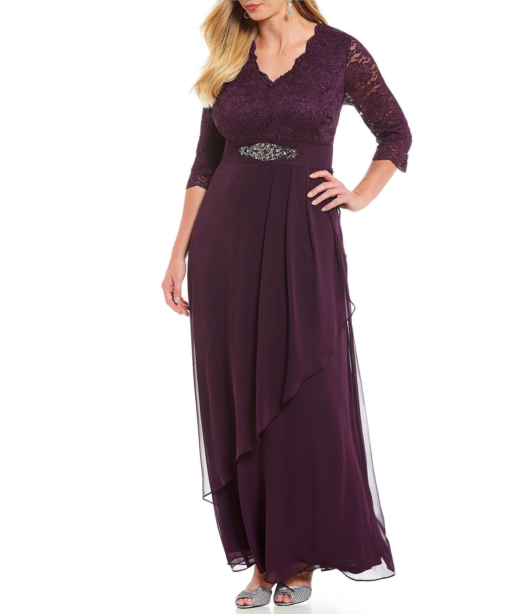 1513c67ed80 Shop for Jessica Howard Plus Size V-Neck Beaded Waist Draped Gown at ...