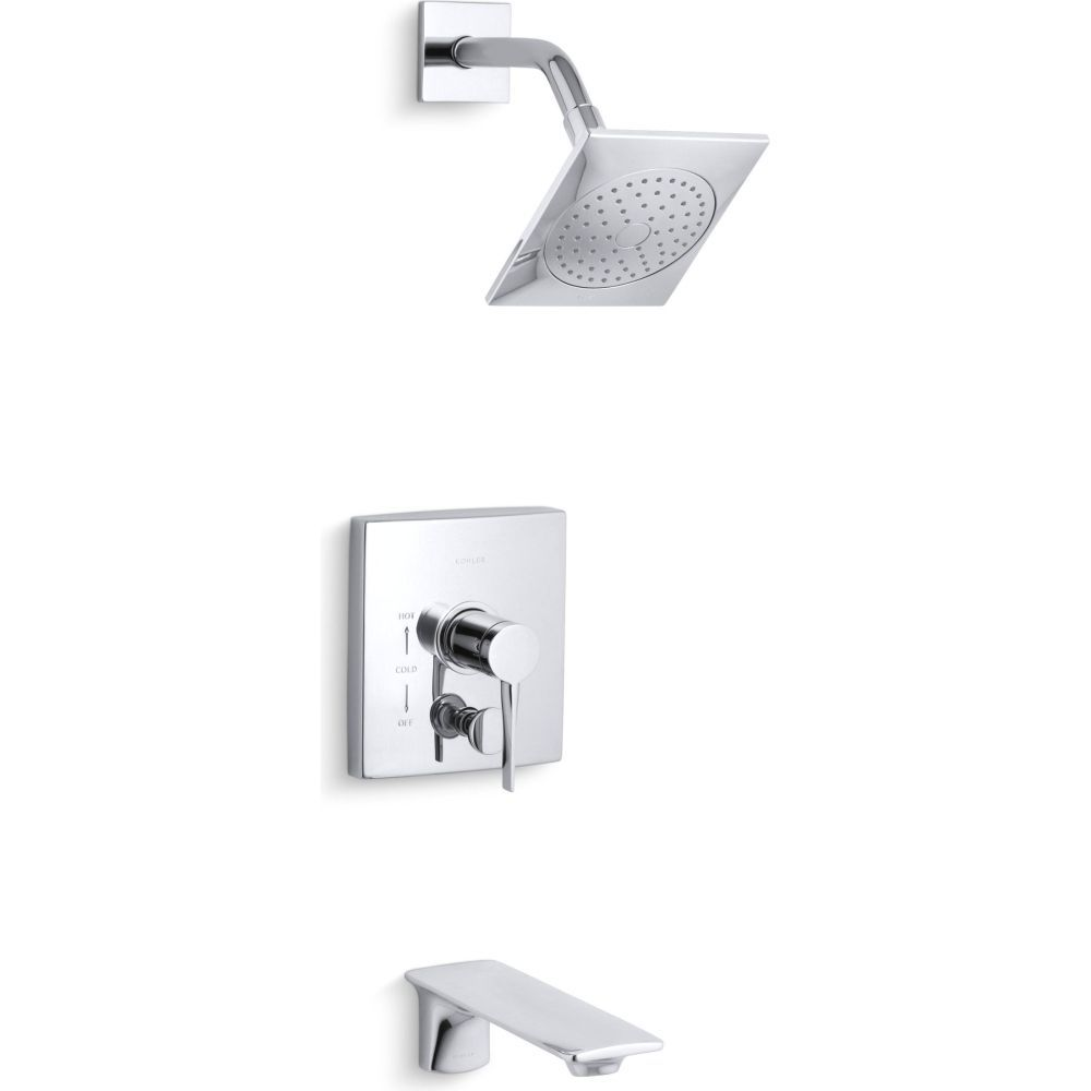 Kohler K T14776 4 CP Stance Single Handle Rite Temp Pressure Balance Tub  And Shower Faucet Trim Polished Chrome   EFaucets.com
