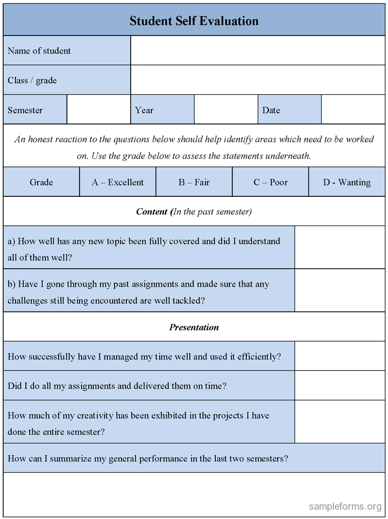 Student Weekly SelfEvaluation Pupil selfassessment – Student Self Evaluation Form