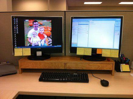 Desk Organization Office Two Monitors