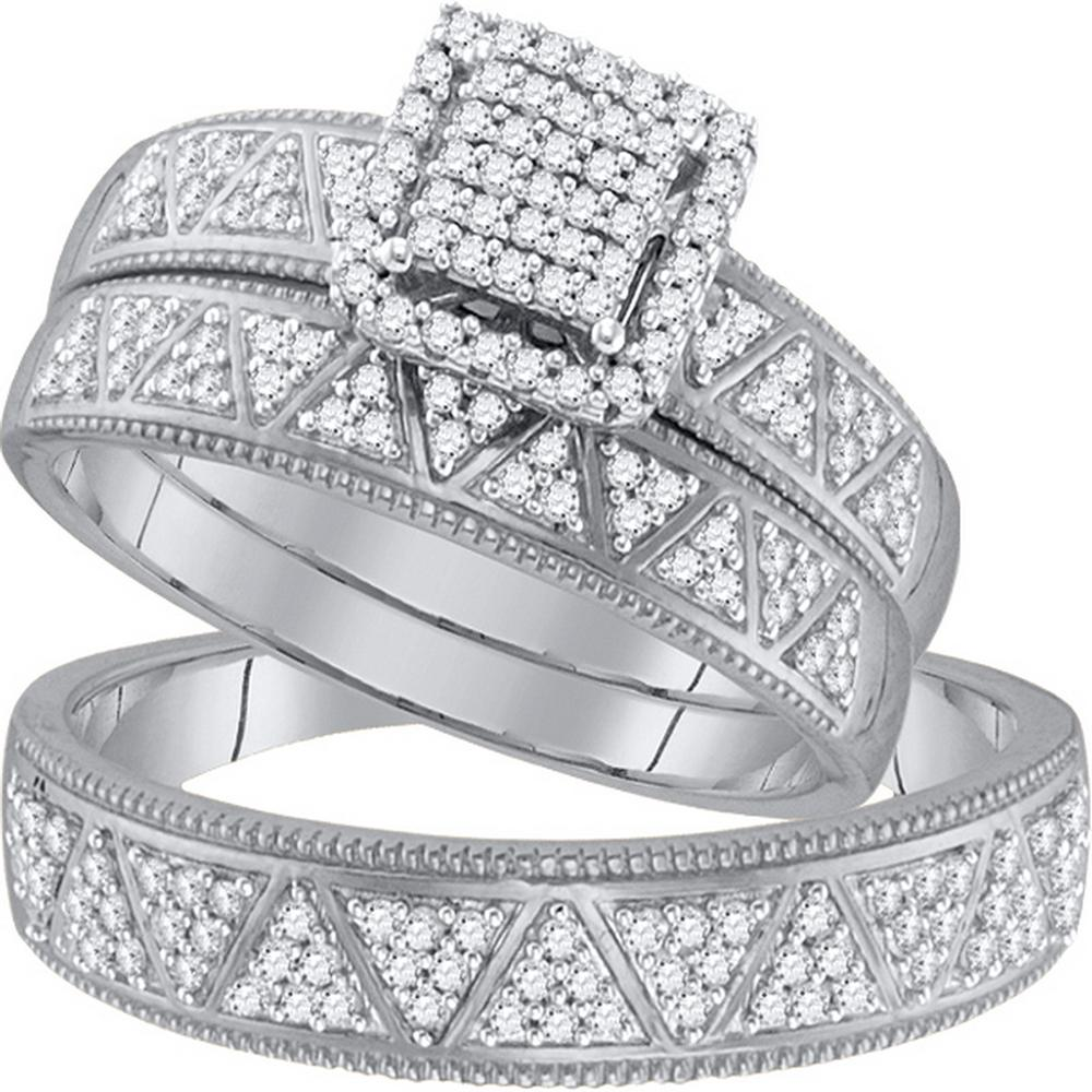 10kt White Gold His Hers Round Diamond Square Cluster Matching Bridal Wedding Ring Band Set 1 2 Cttw With Images Wedding Ring Bands Set Wedding Ring Bands Wedding Rings