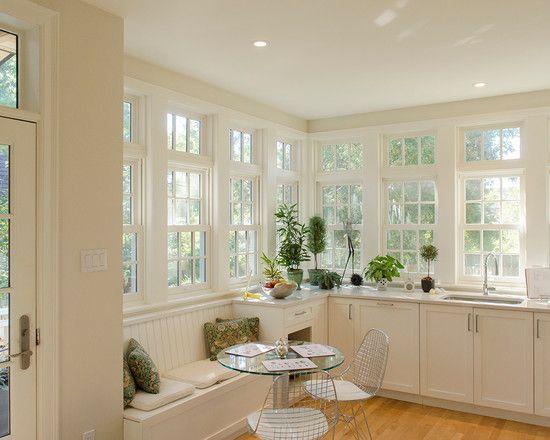fresh interior design white kitchen with natural plant