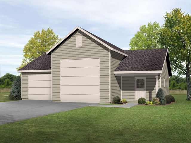 Rv garage with shop and one car garage space attached rv for House plans with attached shop