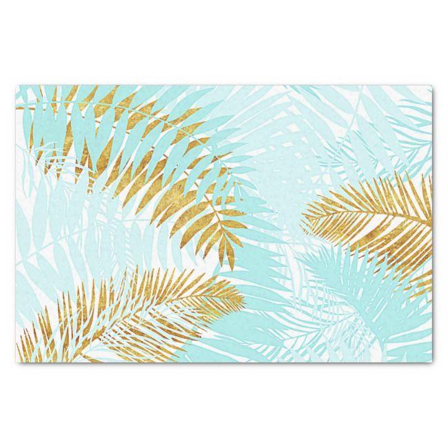 Aloha-Tropical Gold Metal Foil Aqua Palm Leaves Tissue Paper | Zazzle.com