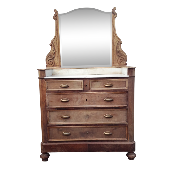 coiffeuse ou commode ancienne plaque de marbre bois mat riau marron bon tat art d co. Black Bedroom Furniture Sets. Home Design Ideas