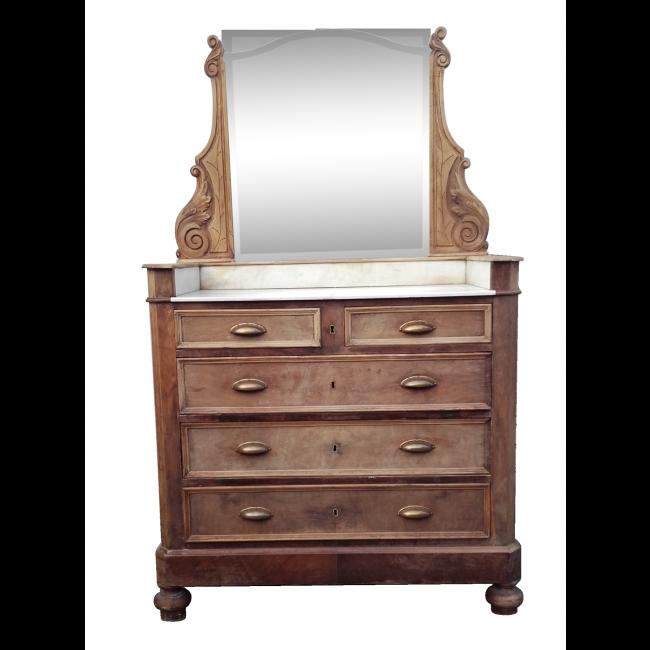 jolie ancienne coiffeuse nombreux rangement typique superbe meuble ancien avec miroirs et