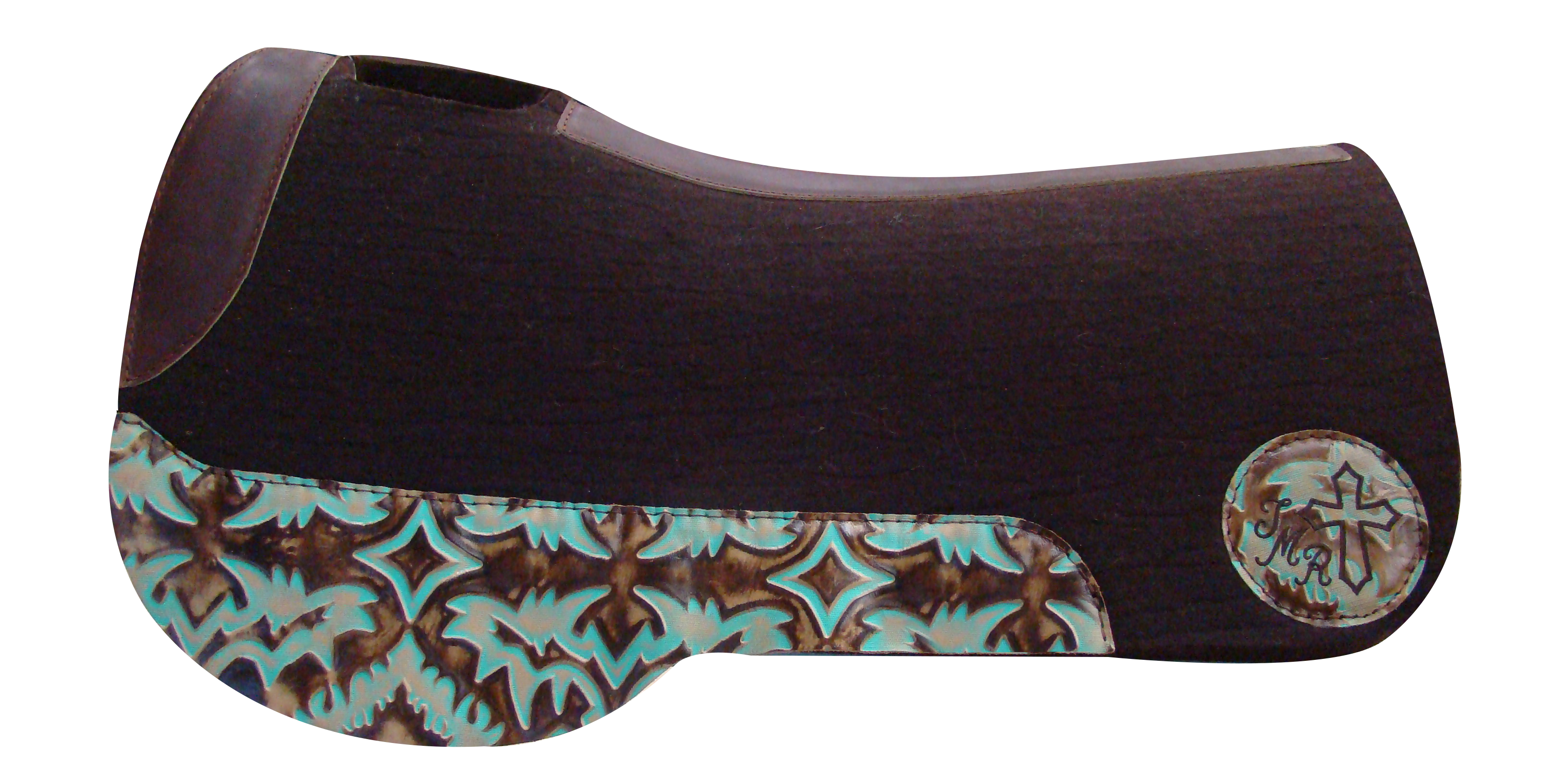 5 Star Equine Saddle Pads The Trail Rider: Trail Saddle Pads Dark Chocolate Pad with Breast Collar Protection Wear Leathers, Turquoise Laredo Wear Leathers and a custom embroidered circle patch! Customize your pad here: http://www.5starequineproducts.com/proddetail.php?prod=endurance-trail-saddle-pad