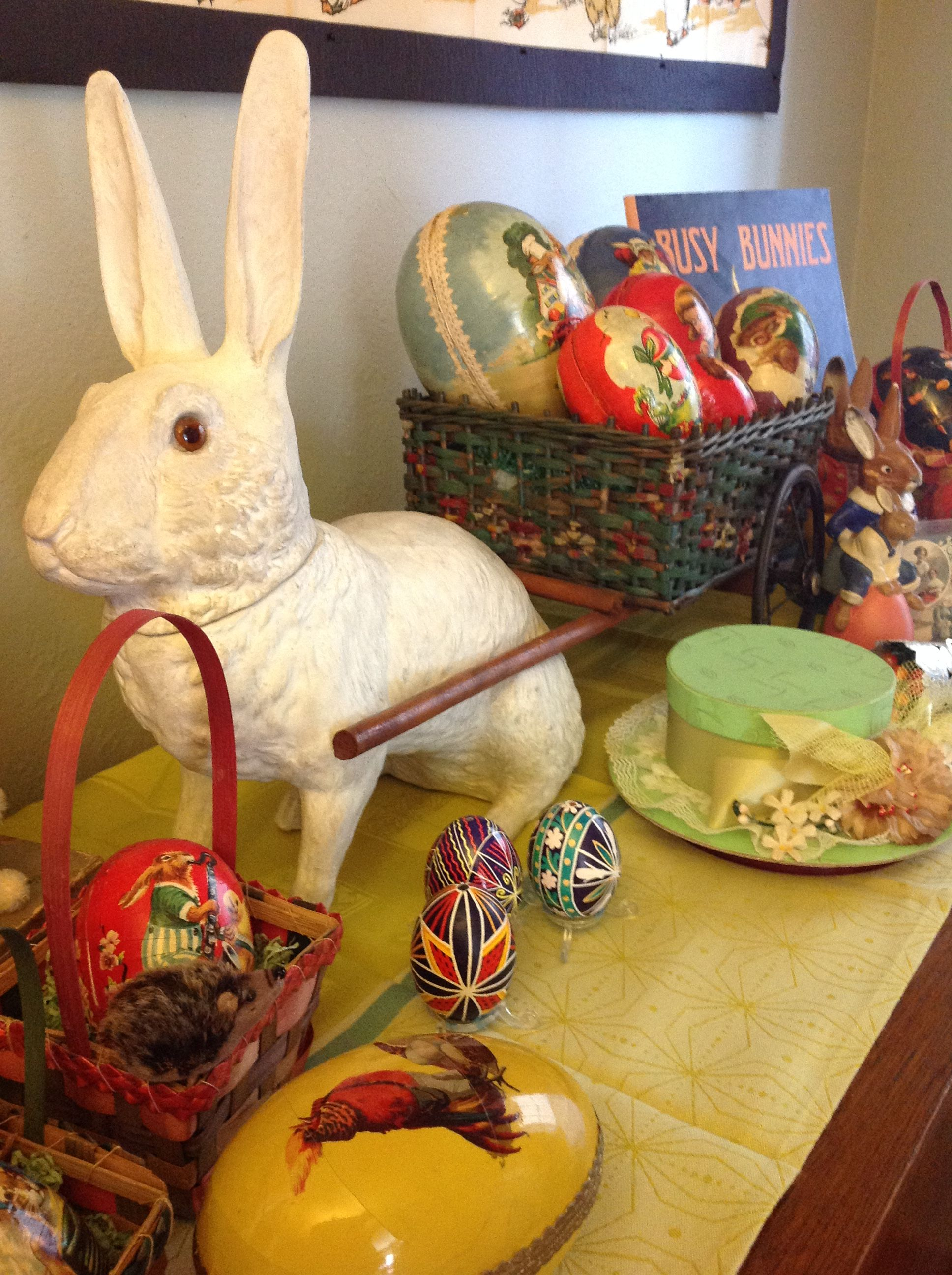 Antique Easter Decorations Showing Some Papermache Candy