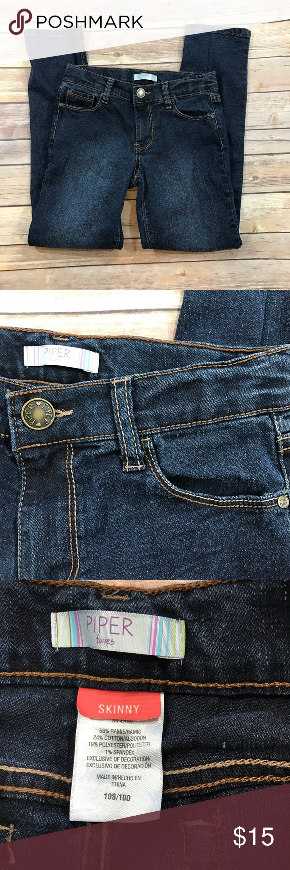 Girls Piper skinny jeans Skinny jeans in very good condition. Stretchy blend.  Ships next day. Piper Bottoms Jeans