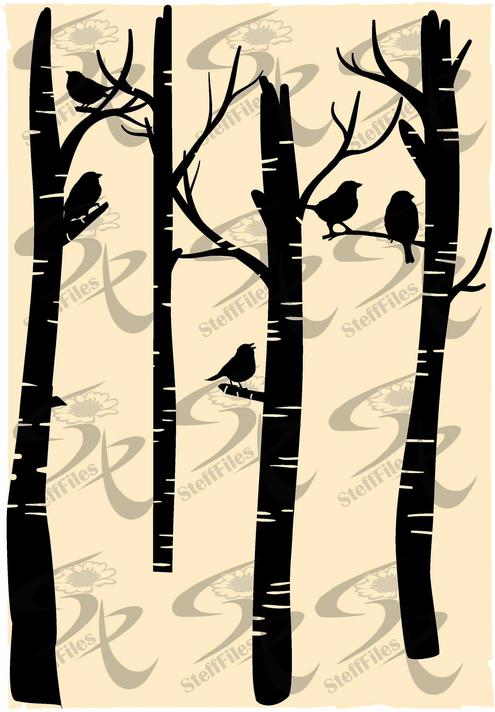 Vector BIRCH FOREST BIRDS,svg,dxf,ai, png, eps, jpg