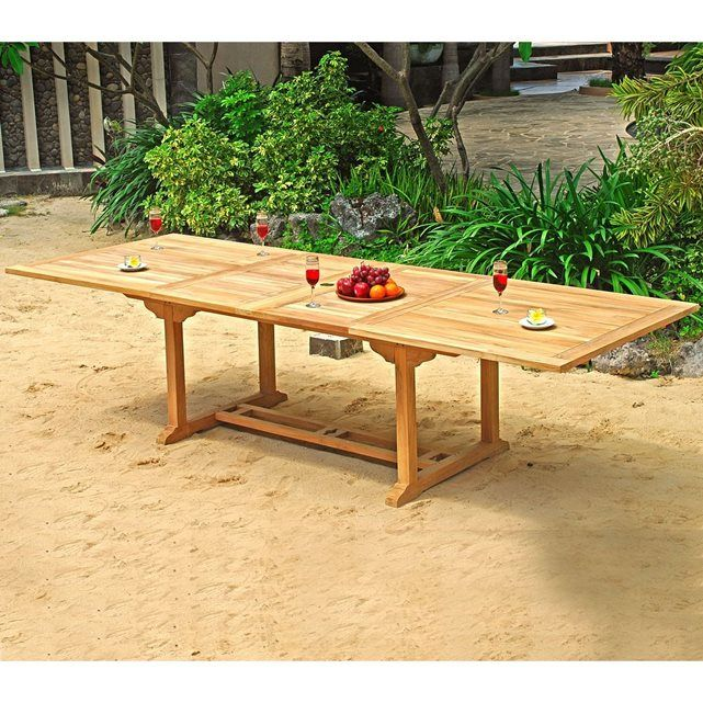 Table de jardin XXL en teck brut - double rallonge papillon 200 ...