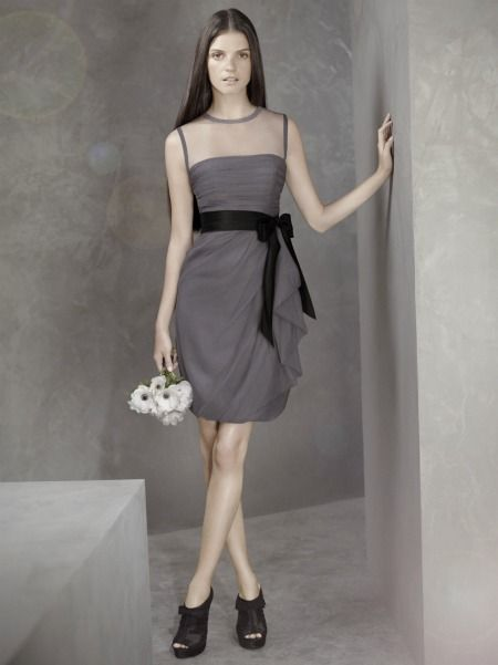 Awesome White by Vera Wang bridesmaid collection Bobbin Net Dress with Illusion Neckline