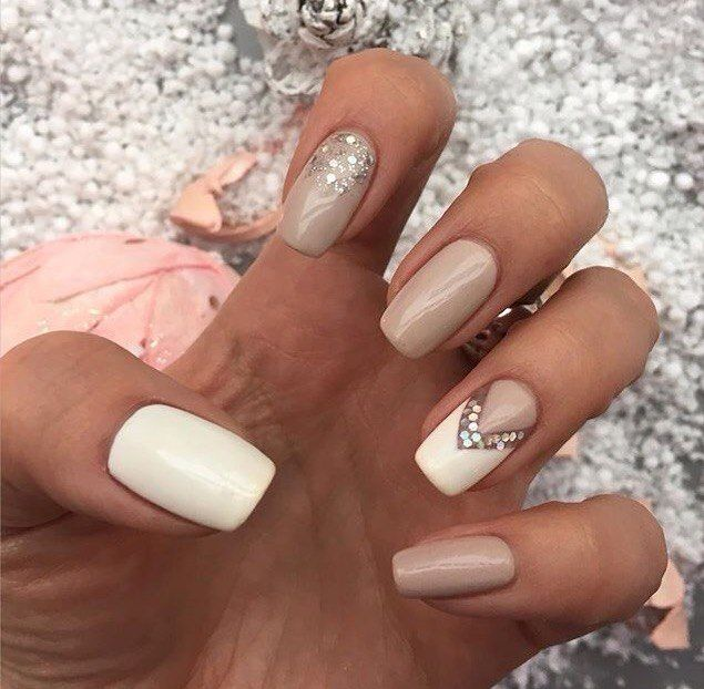 Beautiful evening nails, Beige nails, Evening dress nails, Evening nails, Evening nails by gel polish, White and beige nails