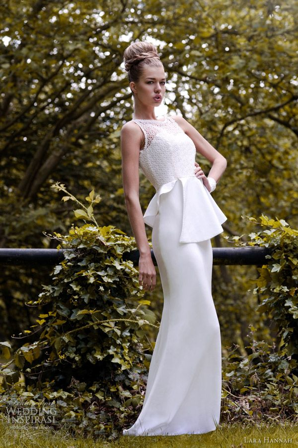 this is almost EXACTLY what I want.  lara hannah spring 2013 vanilla wedding dress peplum
