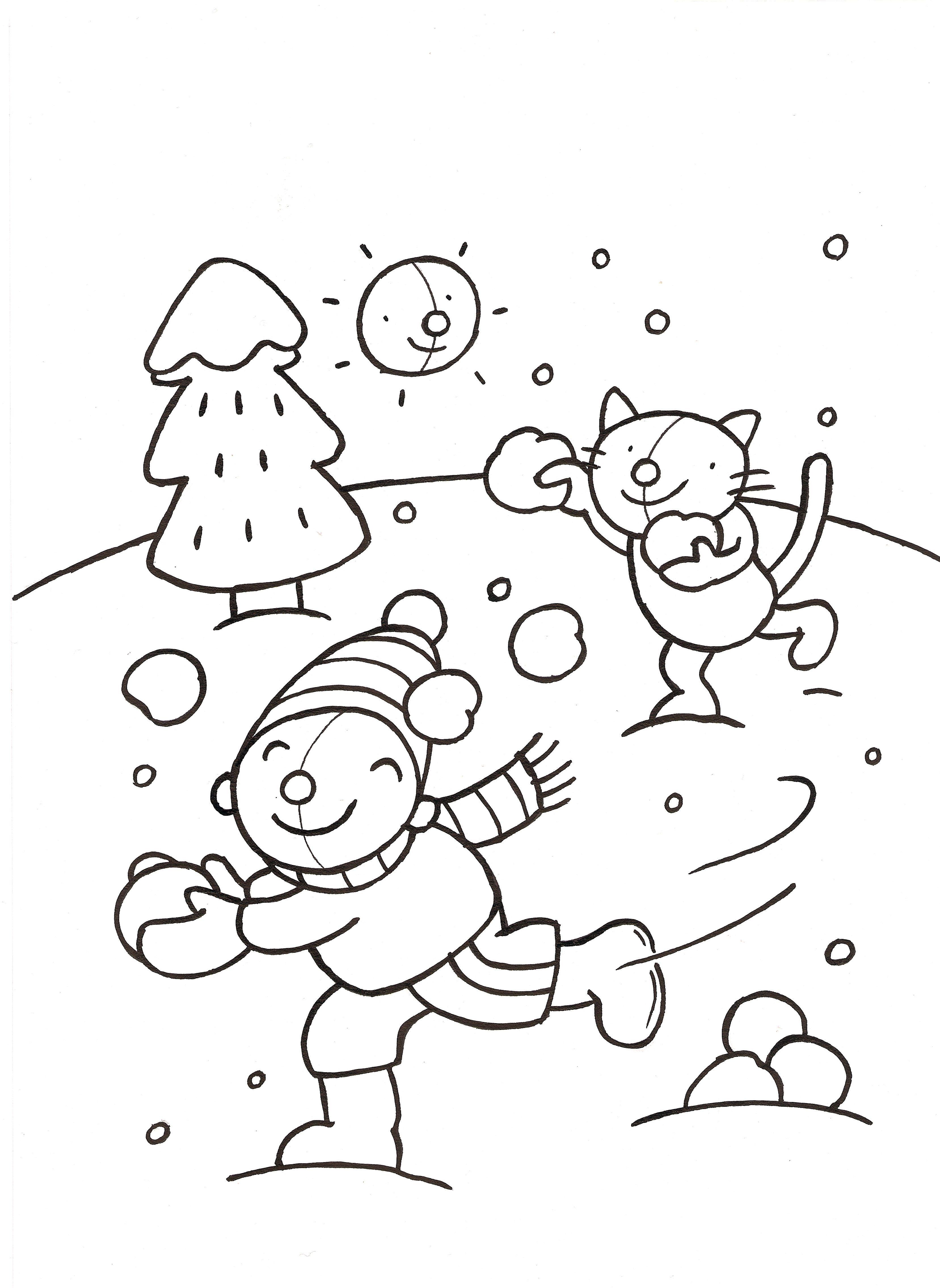 kleurplaat sneeuw tijdschrift rompompom illustratie