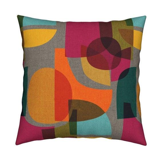 Midcentury Modern Throw Pillow Mid Century Kaleidoscope By Etsy Square Throw Pillow Throw Pillows Geometric Throw Pillows
