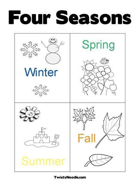 - Four Seasons Coloring Page Seasons Kindergarten, Seasons Worksheets,  Seasons Preschool