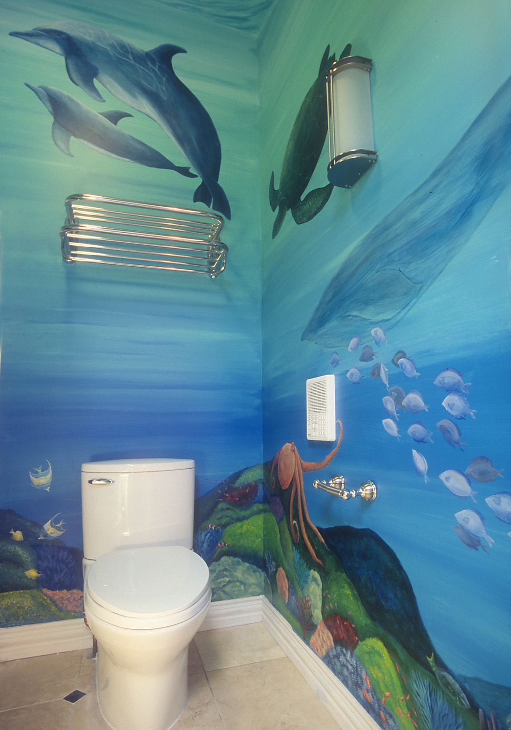 Underwater bathroom mural by rachel gingold for the home for Underwater mural ideas