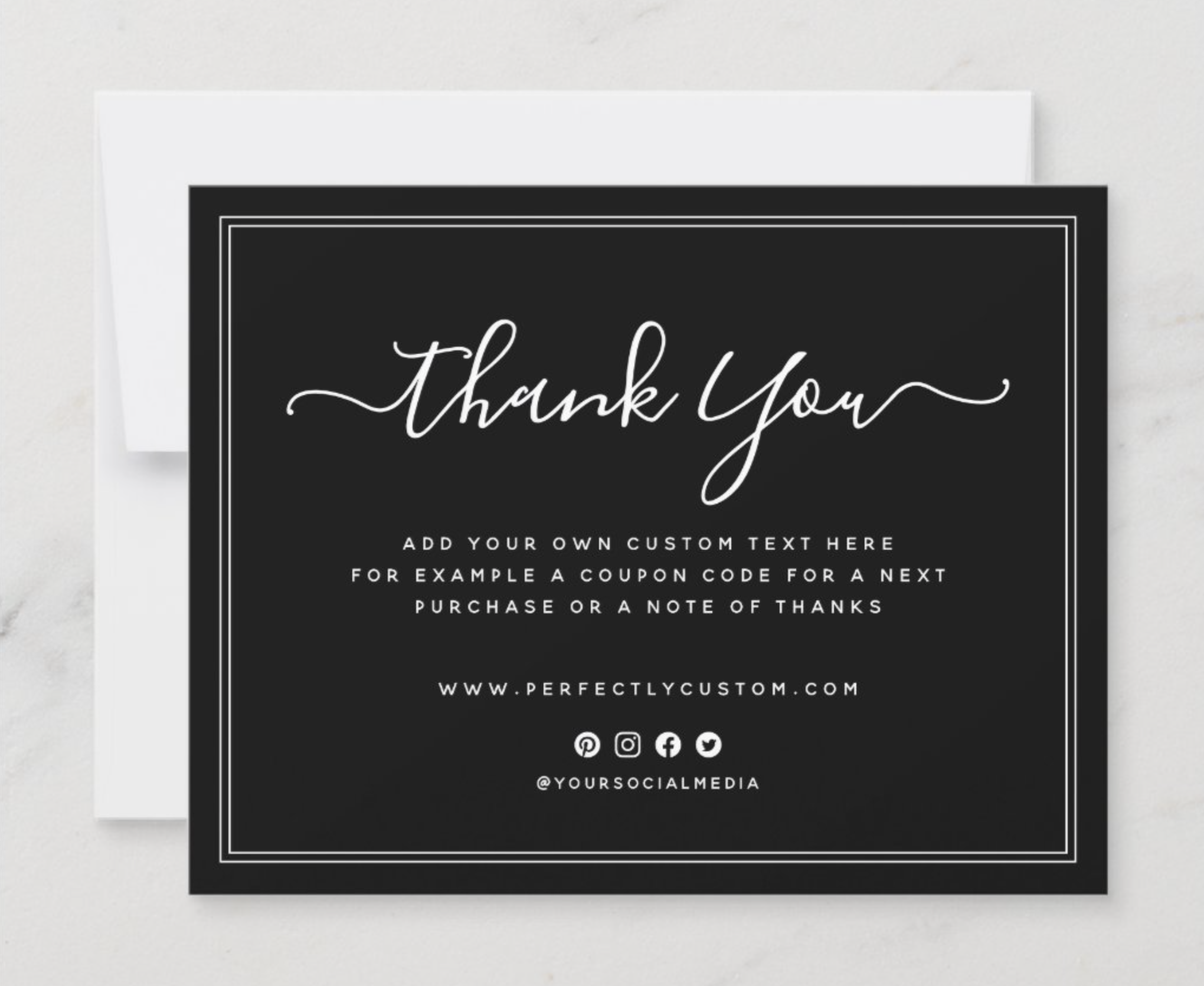 Black Business Thank You Note With Custom Logo Zazzle Com Business Thank You Notes Business Thank You Cards Business Thank You