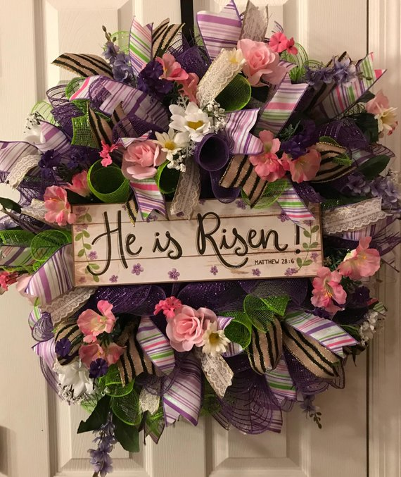 He Is Risen Deco Mesh Wreath Religious Easter Wreath Scripture