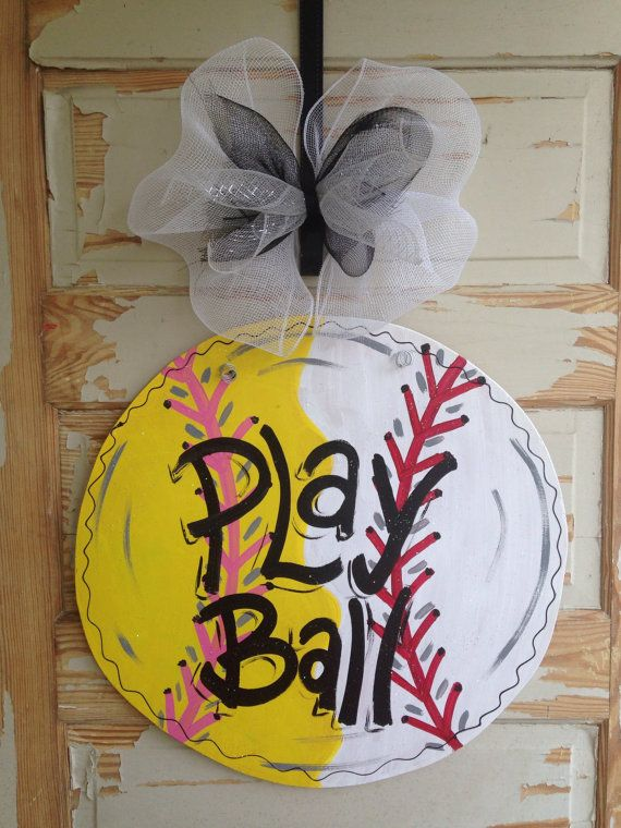 Baseball Softball Door Hanger By Queensofcastles On Etsy There S