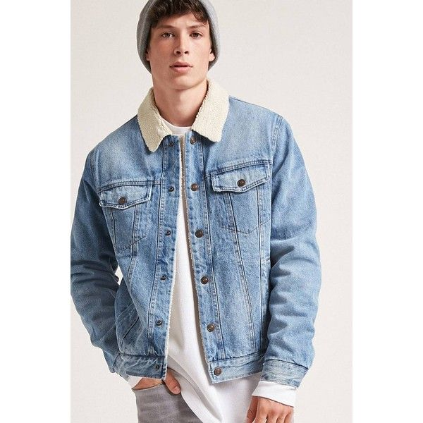 Forever21 Faux Shearling Lined Denim Jacket 43 Liked On Polyvore Featuring Men S Fashion Men S Clothin Quilted Jacket Men Lined Denim Jacket Mens Outfits