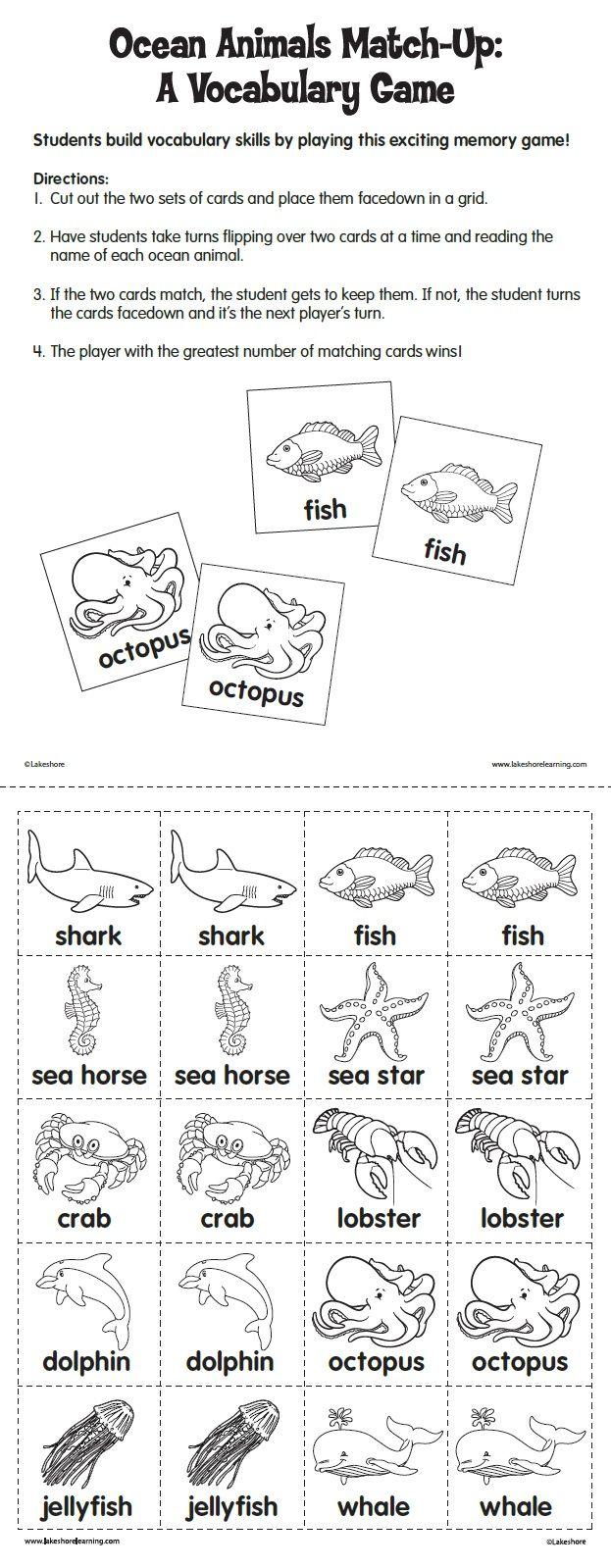 Ocean Animals Match Up A Vocabulary Game From Lakeshore Learning Children Build Vocabulary Skills By Playi Speech And Language Ocean Animals Ocean Activities [ 1599 x 623 Pixel ]