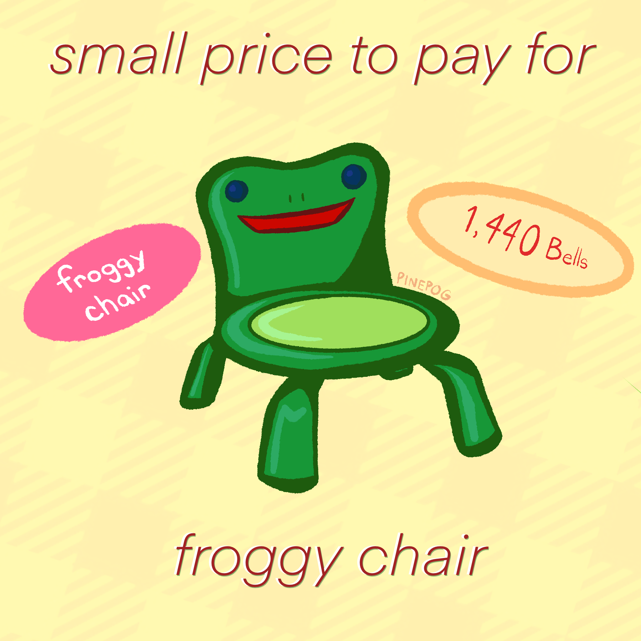 Small Price to Pay for Froggy Chair 8x8inch print in 2020