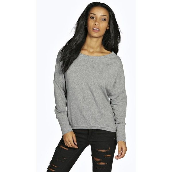 Boohoo Basics Lauren Slash neck Curved Hem Sweatshirt ($20) ❤ liked on Polyvore featuring tops, hoodies, sweatshirts, grey, shell tops, gray crop top, grey crop top, boat neck tops and grey sweatshirt